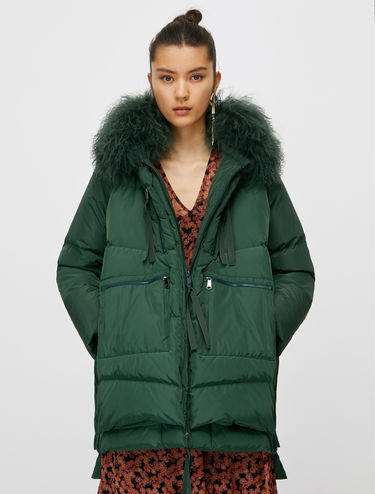Hooded down jacket with Mongolian fur collar