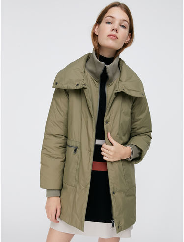Padded utility jacket with knit collar