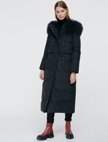 Long down jacket with Mongolian fur collar