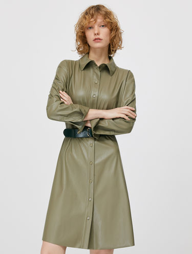 Coated jersey shirt dress