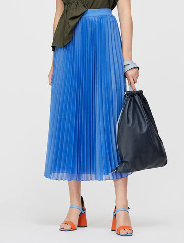 Pleated techno-mesh skirt
