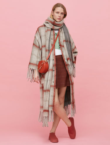 Cappotto plaid con frange