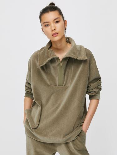 Sweat-shirt en jersey de velours côtelé