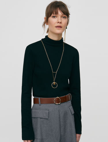 Scarf collar polo neck