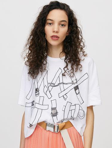 プリント コットン Tシャツ
