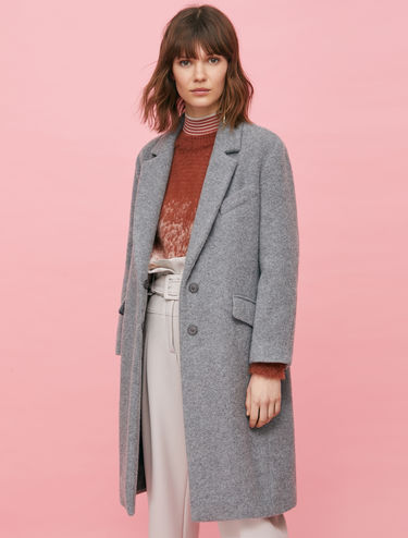 Button-front alpaca and wool coat