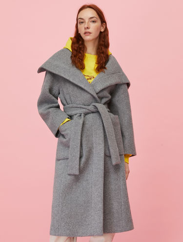 Belted alpaca and wool coat