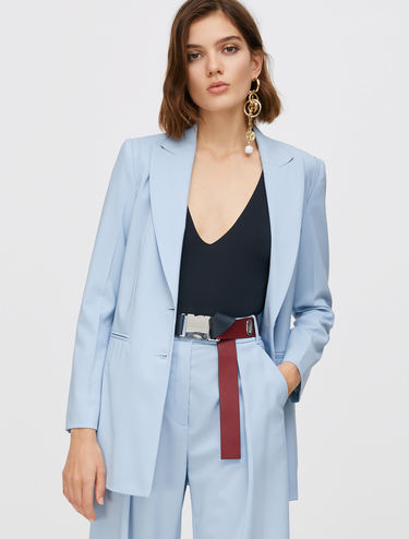 Long blazer di lana