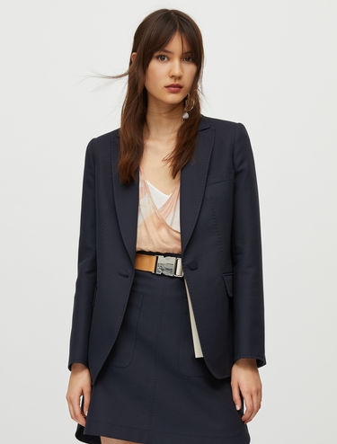 Cotton blazer with stitching