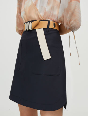 Cotton skirt with stitching