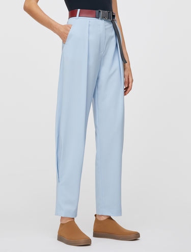 Light wool parachute trousers