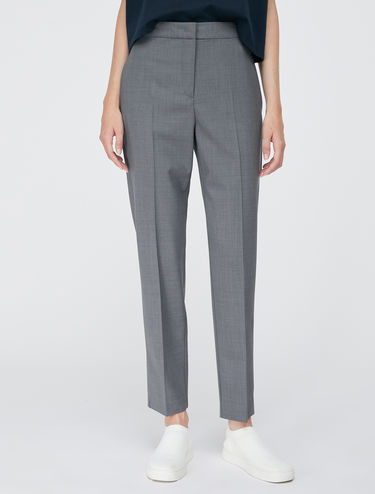 Slim light wool trousers