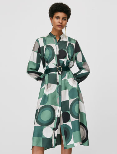 Printed twill shirt dress