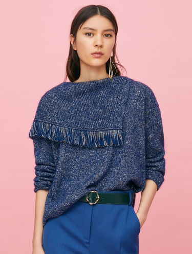 Poncho-style jumper in lamé mohair