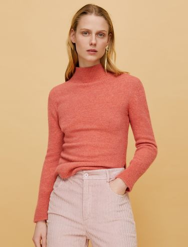 Slim jumper with mock polo neck