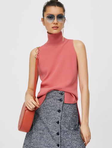 Ribbed polo neck top