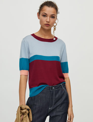 Crew-neck jumper in cotton silk