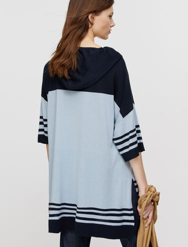 Oversized hooded jumper in cotton silk