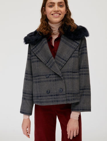 Wool and mohair pea coat