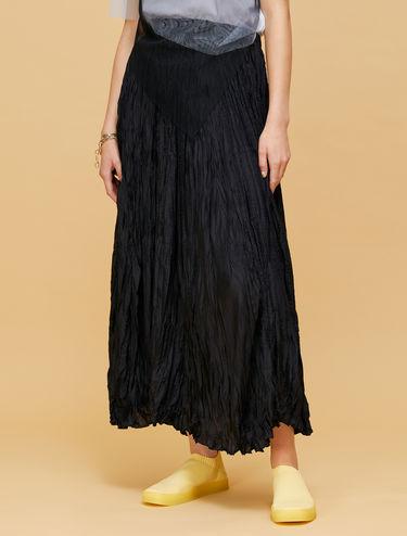 Crinkle texture silk skirt