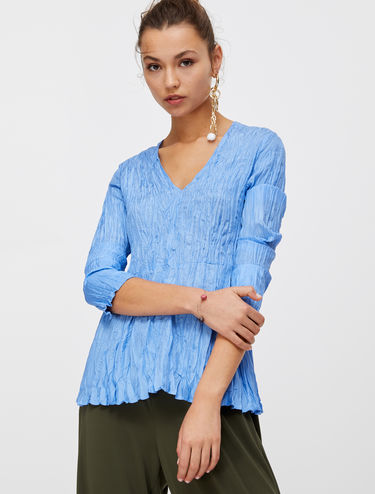 Crinkle texture silk blouse