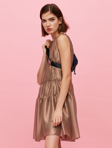 Iridescent silk ruffle dress