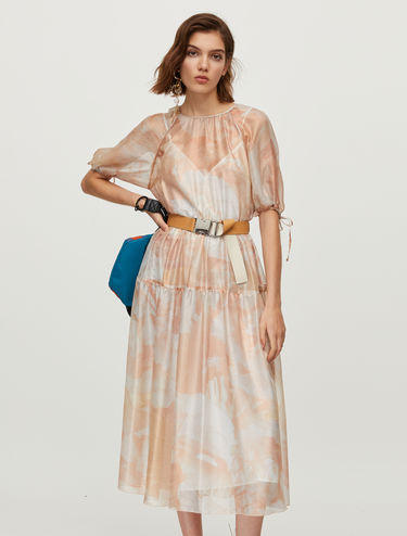 Long iridescent silk dress