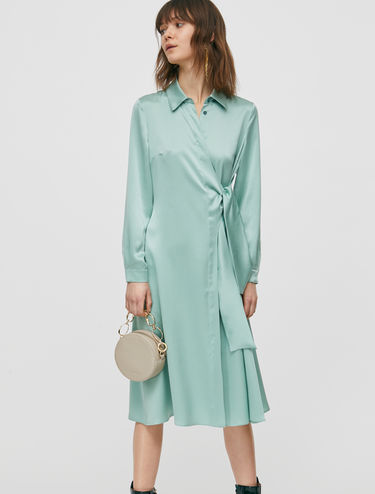 Silk satin shirt dress