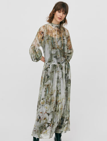 Boho dress in crêpe de Chine