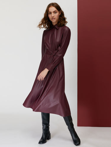 Coated fabric shirt dress