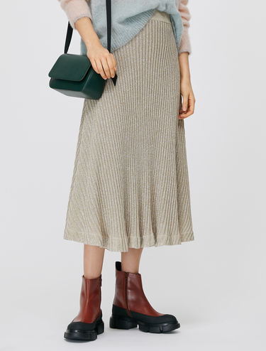Lamé knit skirt