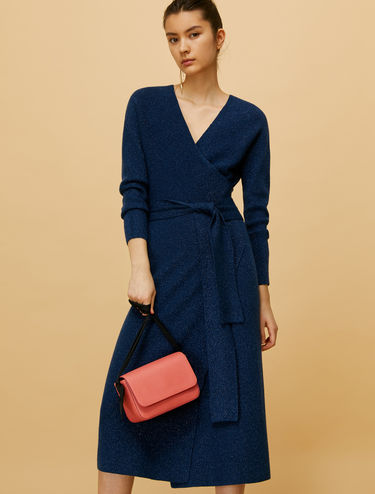 Crossover dress in lamé knit