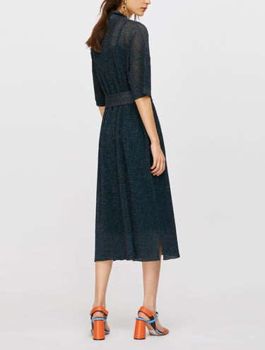Knitted lamé polo dress