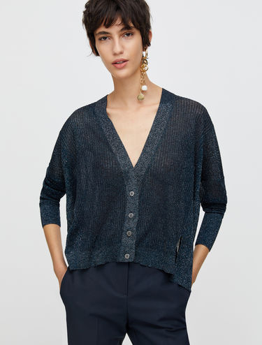 Ribbed lamé cardigan