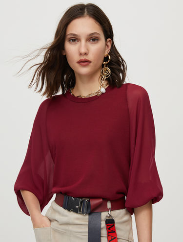 Knit and crêpe de chine blouse