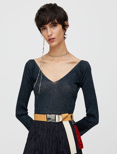 Ribbed lamé jumper
