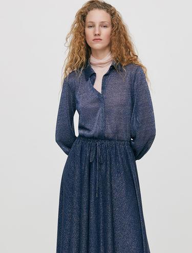 Robe-chemise longue en jersey lamé