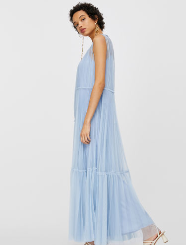 Maxi dress in pleated tulle