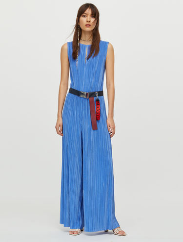 Micro-pleated jersey jumpsuit