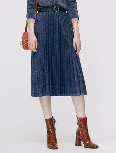 Pleated jersey lamé skirt