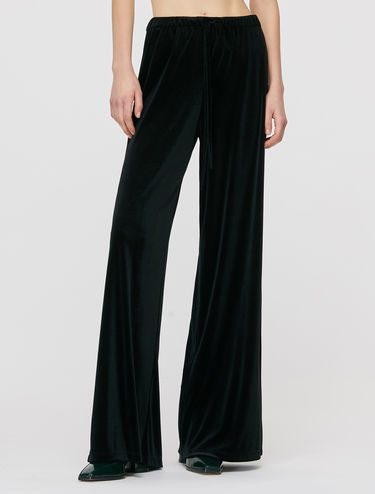 Wide-leg velvet trousers