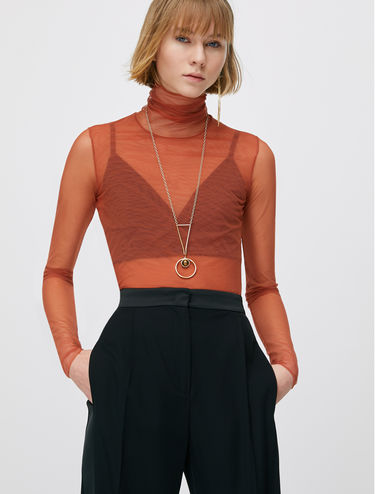 Sheer tulle jersey turtleneck top