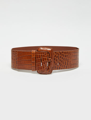 Wide crocodile-print belt