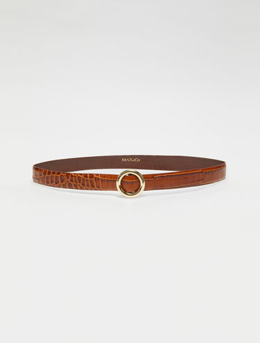 Slim crocodile-print belt