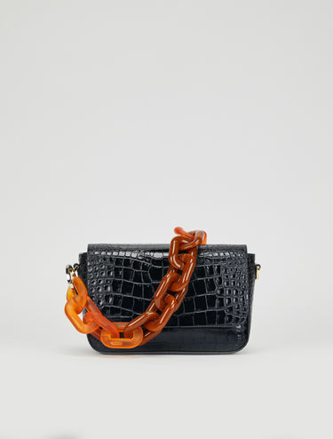 Crocodile-print flap bag