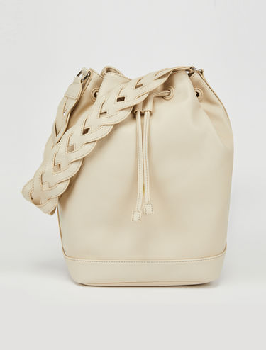 Bucket bag with woven shoulder strap