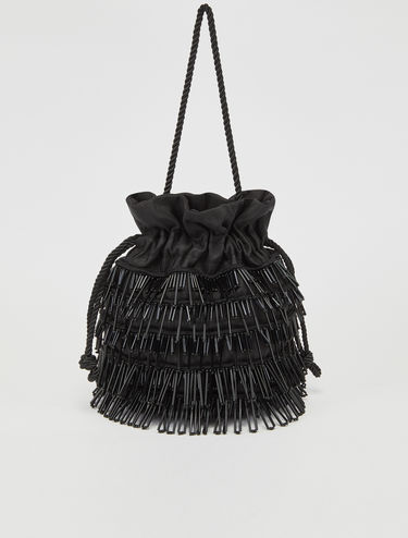 Bucket bag with jewel fringes