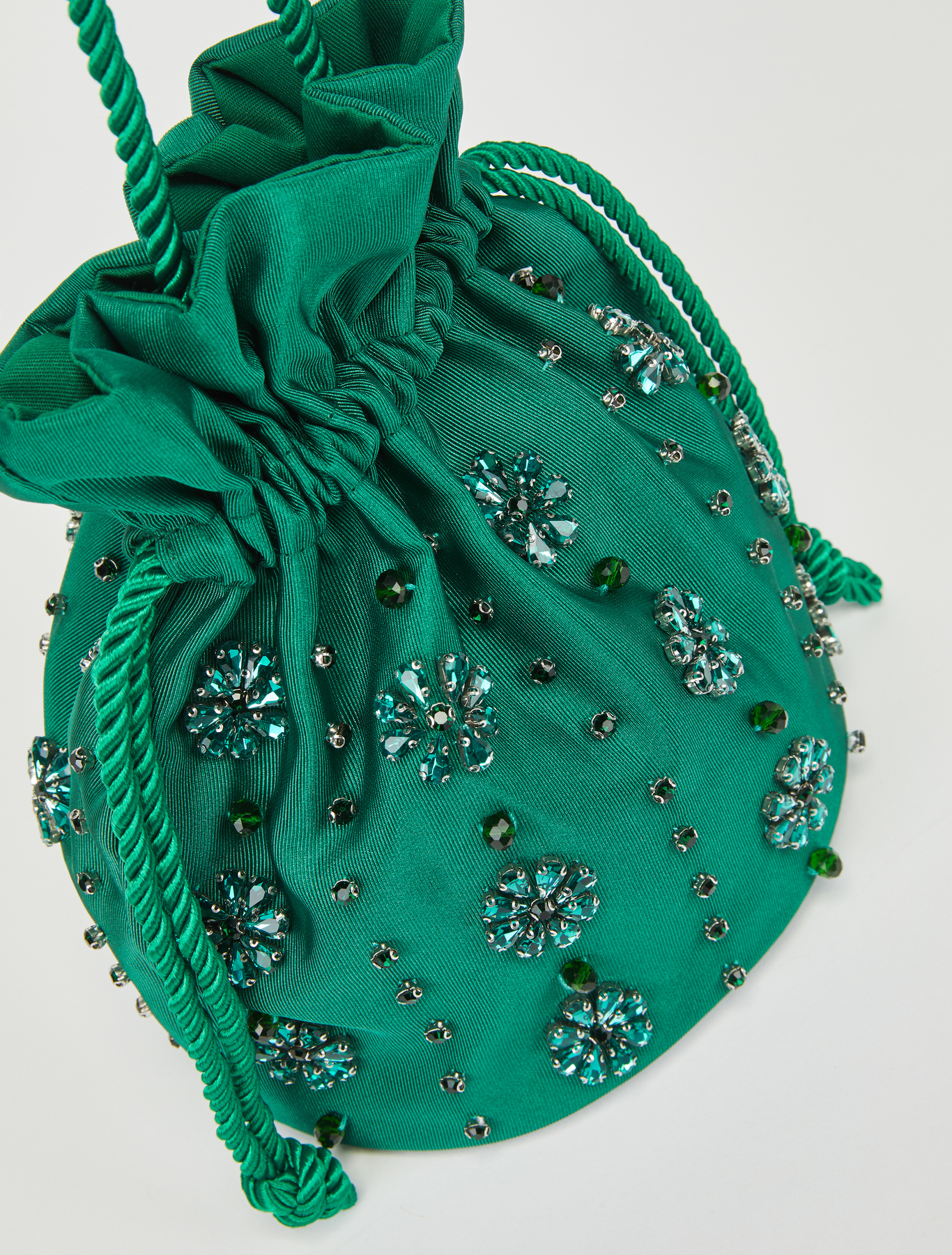 Maxi large bag with handles in green cotton water printed with shalimar flowers with key holderbag jewel