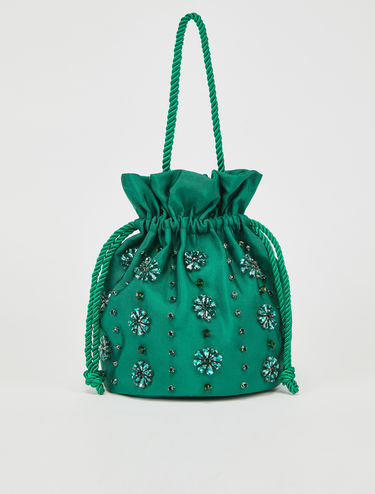 Bucket bag with jewel embroidery