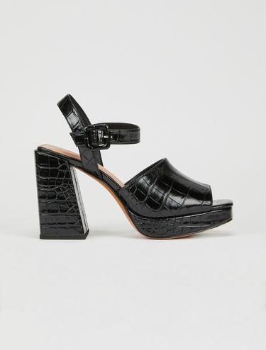 Crocodile-print sandals